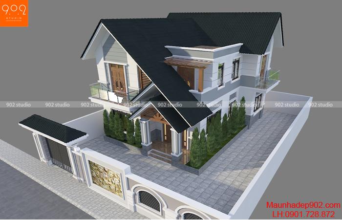 Phối cảnh tổng thể - Mẫu nhà mái thái 2 tầng