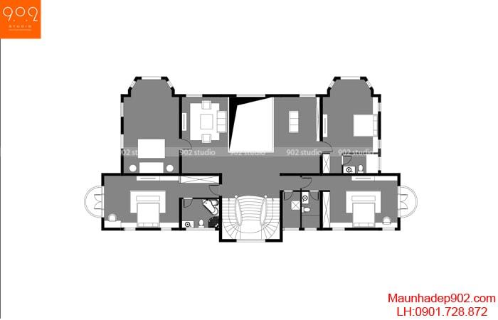 Mặt bằng tầng 2 - Biệt thự tân cổ điển 2 tầng đẹp