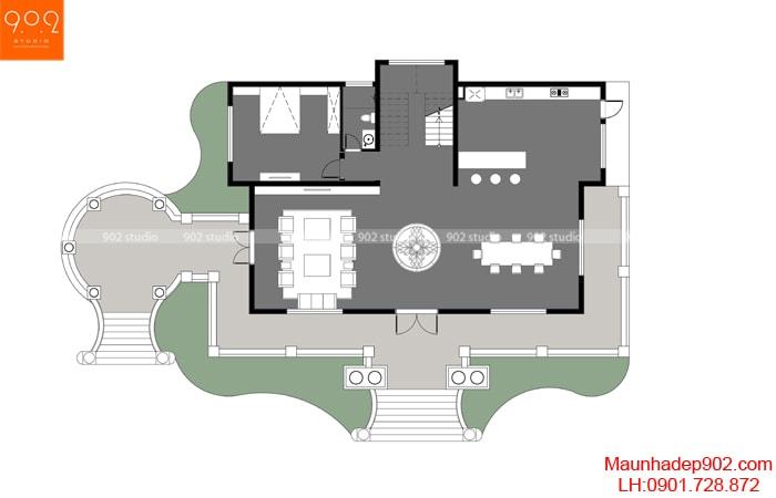 Mặt bằng tầng 1 - Mẫu biệt thự 2 tầng phong cách tân cổ điển đẹp 2018