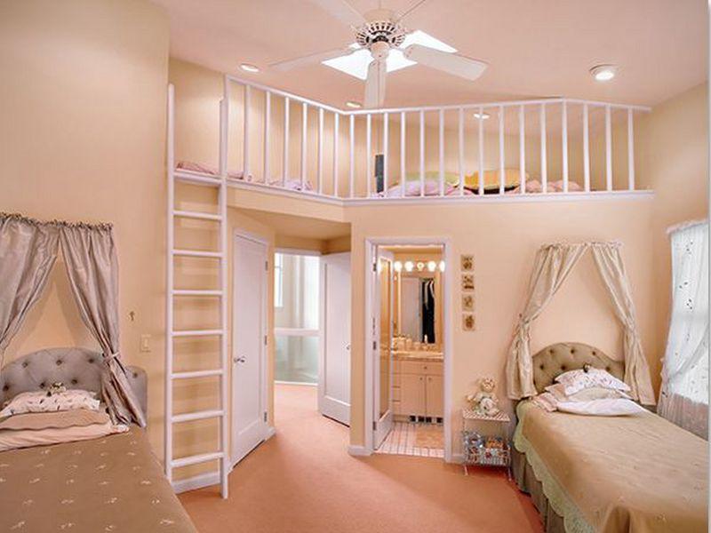 Mẫu 1: Trang trí tầng lửng thành phòng ngủ