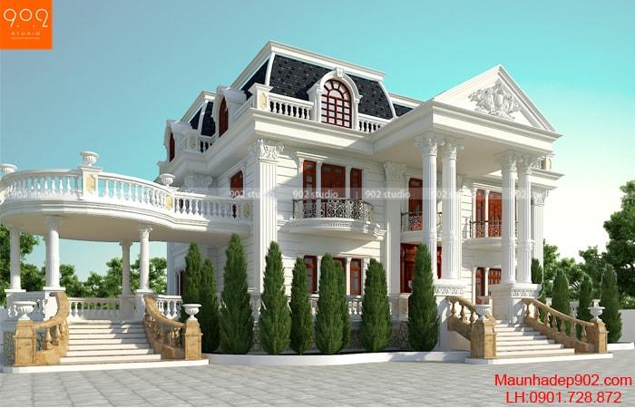 Thiết kế biệt thự 2 tầng tân cổ điển đẹp 4 phòng ngủ