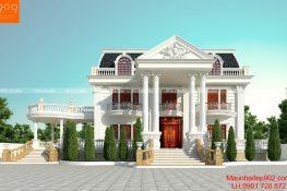 Bản vẽ biệt thự 2 tầng phong cách tân cổ điển đẹp 4 phòng ngủ
