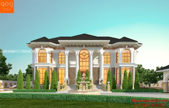 Phối cảnh mặt tiền biệt thự tân cổ điển 2 tầng đẹp - BT168