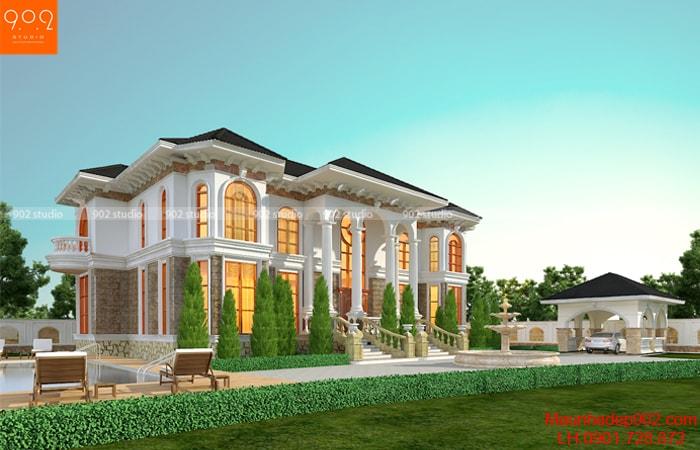 Thiết kế biệt thự 2 tầng tân cổ điển kết hợp sân vườn đẹp