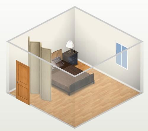 Sử dụng tấm rèm chắn giữa vị trí cửa và giường