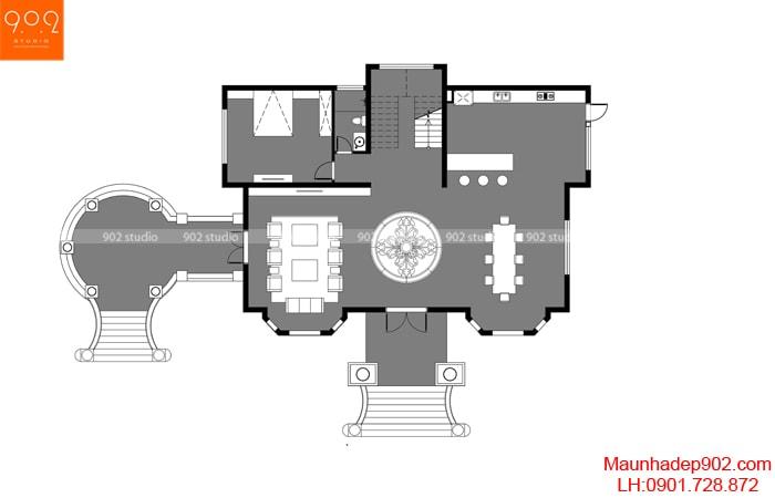 Mặt bằng tầng 1 - Nhà đẹp 2 tầng tân cổ điển nhà chú Thấu ở Hưng Yên
