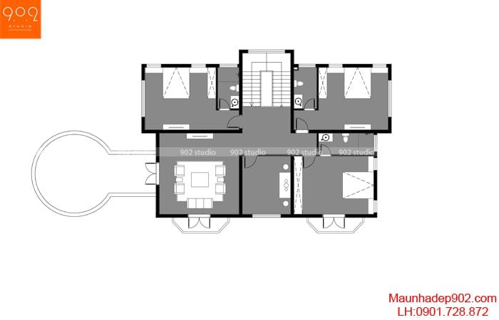 Mặt bằng tầng 2 - Nhà đẹp 2 tầng tân cổ điển nhà chú Thấu ở Hưng Yên