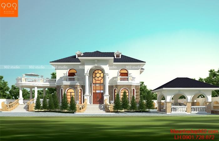Phối cảnh 3D tổng quan mặt tiền phía trước của thiết kế nhà đẹp 2 tầng Tân cổ điển của gia đình chú Thấu – BT167