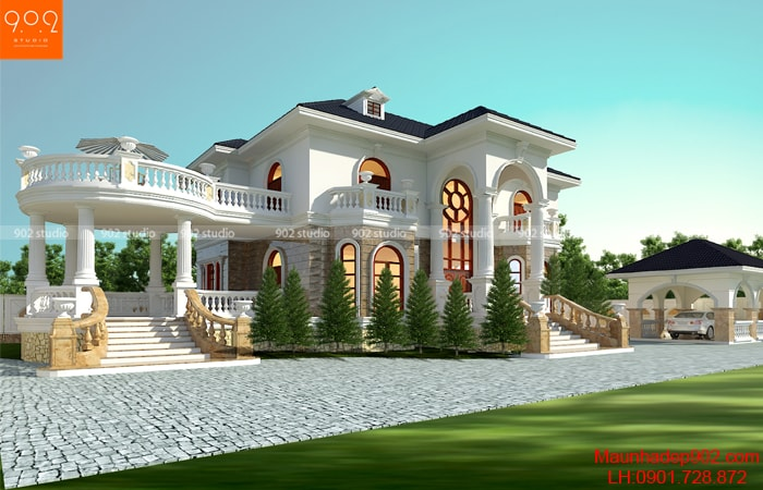 Kiến trúc Tân cổ điển sang trọng được các KTS 902 thể hiện rõ nét trong bản phối cảnh của thiết kế nhà đẹp 2 tầng – BT167