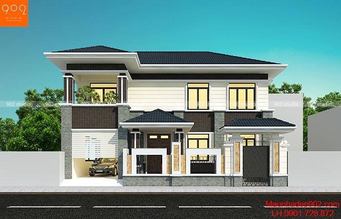 Phối cảnh mẫu thiết kế gara ô tô trong nhà - BT166