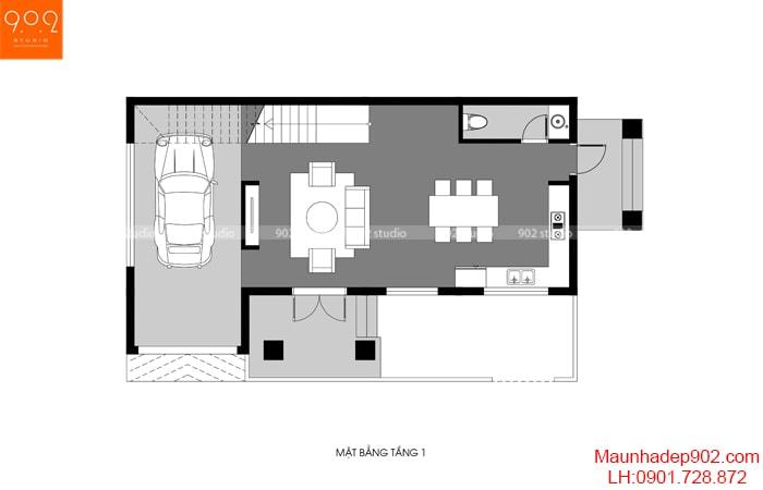 Mặt bằng công năng tầng 1 của mẫu thiết kế gara ô tô trong nhà - BT166