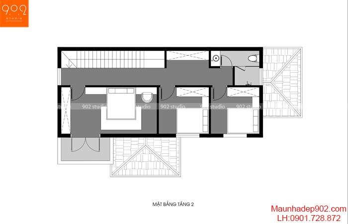 Mặt bằng công năng tầng 2 của mẫu thiết kế gara ô tô trong nhà - BT166