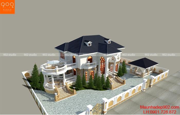 Phối cảnh tổng thế thiết kế nhà đẹp 2 tầng nhà chú Thấu - BT167
