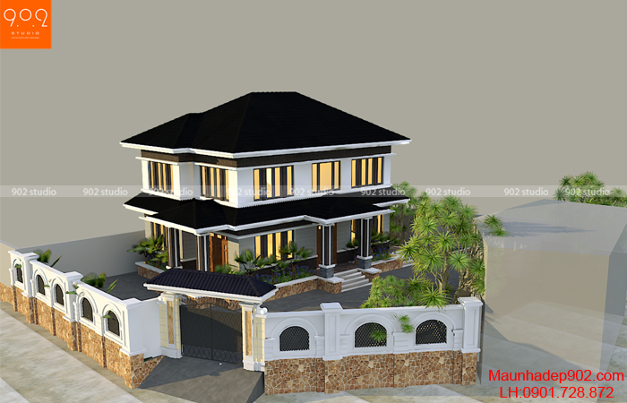 Phối cảnh tổng thể nhà 2 tầng - BT164