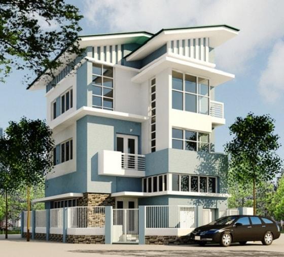 Màu xám xanh phù hợp với bất kì loại hình kiến trúc