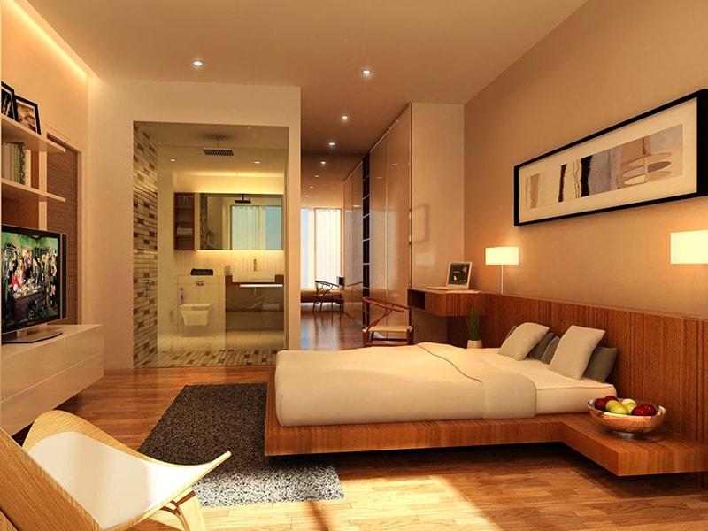 Phòng ngủ có nhà vệ sinh về mức độ nào đó phù hợp với nhu cầu thị trường và là mốt trong sinh hoạt của nhiều người.