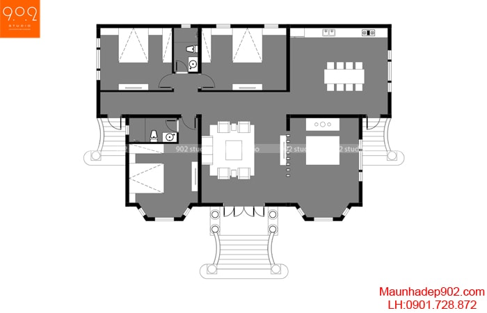 Mặt bằng tầng 1 - Mẫu nhà 1 tầng 3 phòng ngủ mái thái đẹp