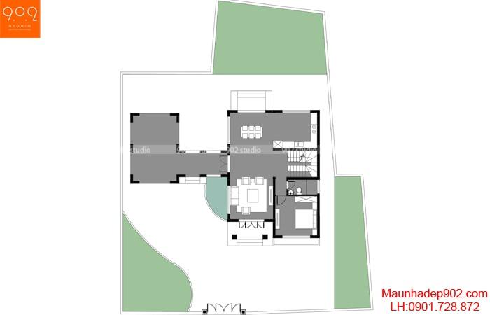 Mặt bằng tầng 1 - Thiết kế nhà 2 tầng đẹp 144m2 hot nhất 2018