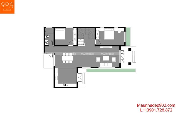 Mặt bằng tầng 1 - Mẫu nhà 2 tầng mái ngói đẹp
