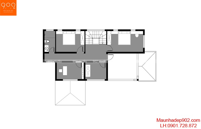 Mặt bằng tầng 2 - Mẫu nhà 2 tầng mái ngói đẹp - BT172