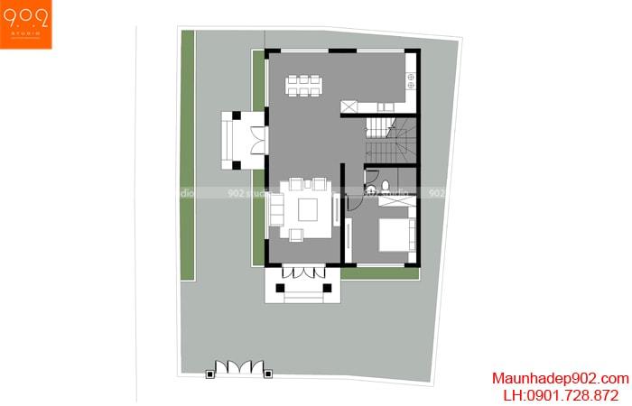 Mặt bằng tầng 1 - Mẫu nhà mái thái 2 tầng đẹp 100m2 BT170