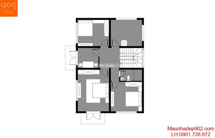 Mặt bằng tầng 2 - Mẫu nhà mái thái 2 tầng đẹp 100m2 BT170