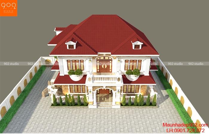 Mẫu nhà 2 tầng 3 phòng ngủ 1 phòng thờ mái ngói thái đẹp
