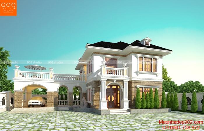 Mẫu nhà đẹp 2 tầng diện tích 144m2 hot nhất 2018