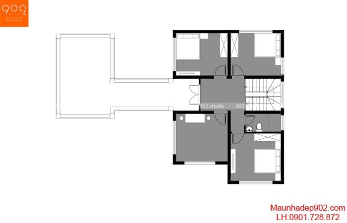 Mặt bằng tầng 2 - Thiết kế nhà 2 tầng đẹp 144m2 hot nhất 2018