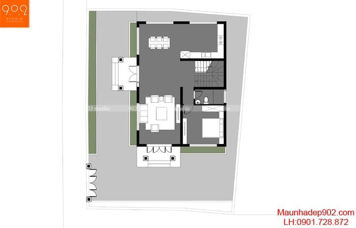Mặt bằng tầng 1 - Nhà 2 tầng mái ngói siêu đẹp BT173