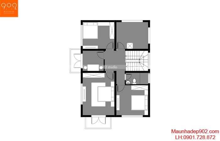 Mặt bằng tầng 2 - Nhà 2 tầng mái ngói siêu đẹp BT173