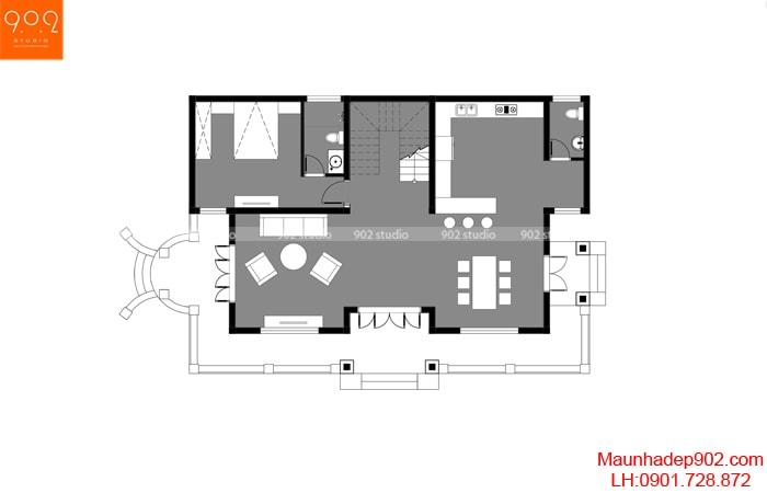Mặt bằng tầng 1: Mẫu nhà 2 tầng 3 phòng ngủ 1 phòng thờ đẹp