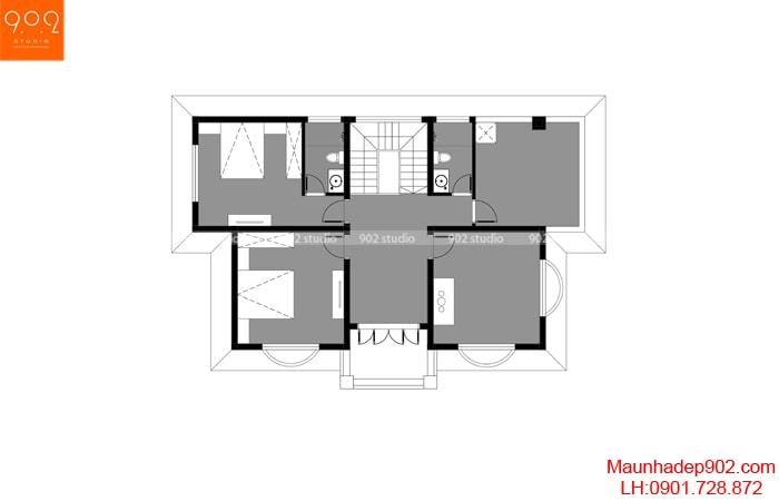 Mặt bằng tầng 2: Mẫu nhà 2 tầng 3 phòng ngủ 1 phòng thờ đẹp
