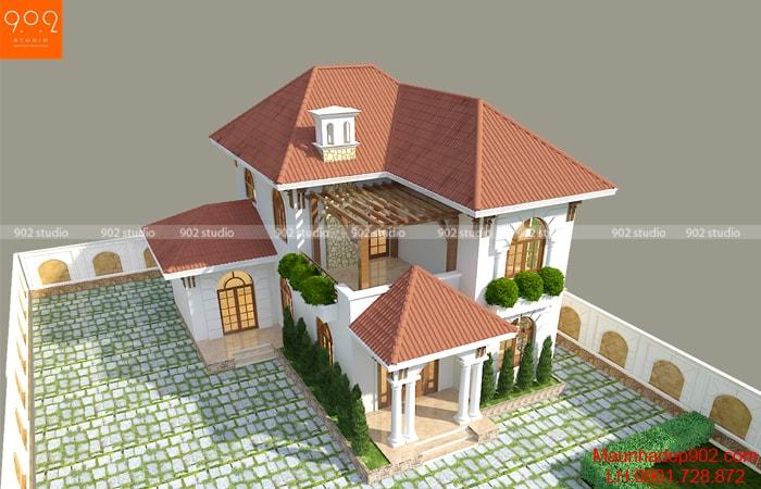 Mẫu nhà 2 tầng mái ngói đẹp được xây dựng trên lô đất 127m2