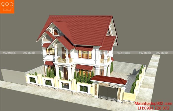 Phối cảnh tổng thể nhà 2 tầng mái ngói 4 phòng ngủ đẹp tại Thái Bình