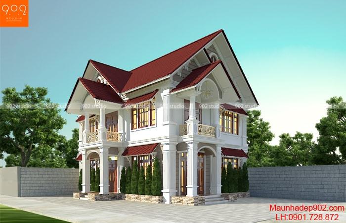 Bản vẽ thiết kế nhà 2 tầng mái ngói đẹp BT173