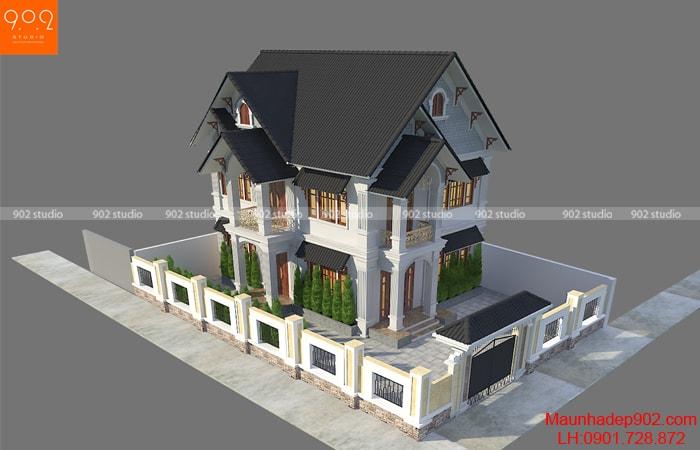 Phổi cảnh tổng thể mẫu nhà 2 tầng đẹp tại Quảng Bình