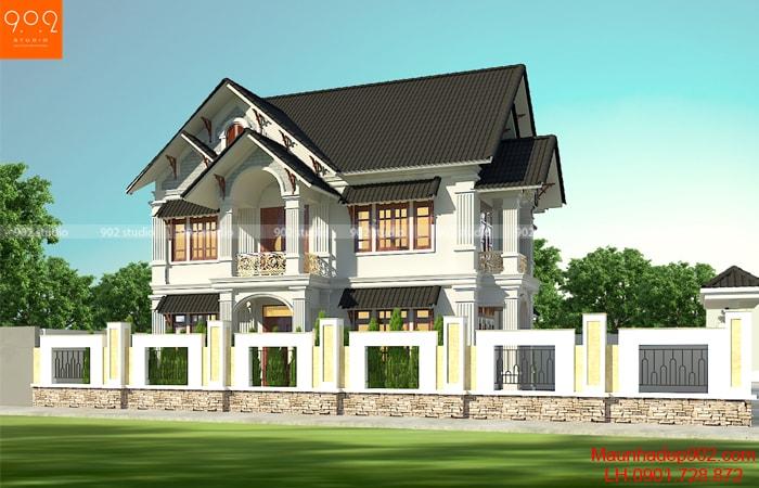 Mẫu biệt thự 2 tầng mái thái nhà ông Sơn được thiết kế và thực hiện bởi các kiến trúc sư của 902