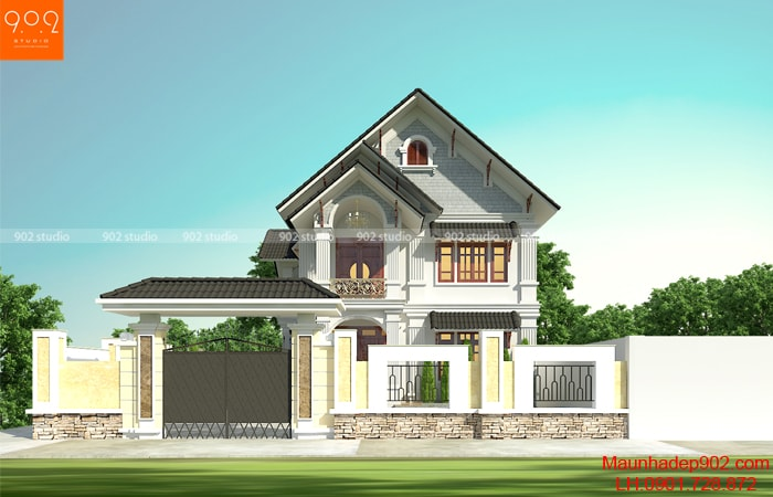 Thiết kế kiến trúc biệt thự mái thái.