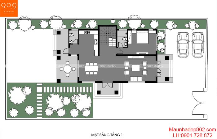 Mặt bằng tầng 1 - Mẫu biệt thự 3 tầng đẹp Hải Phòng