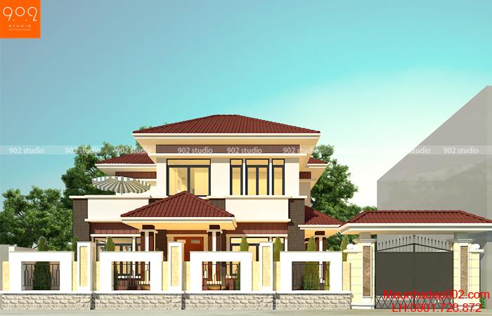 Hình ảnh mẫu thiết kế nhà 2 tầng đẹp 100m2 mái thái đẹp hiện đại
