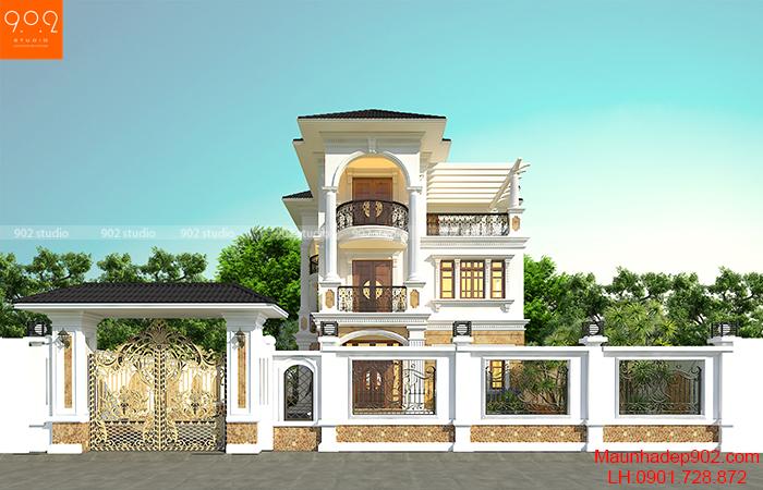 Thiết kế nhà biệt thự 3 tầng tân cổ điển đẹp