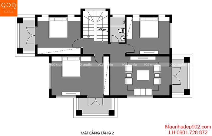 Mặt bằng tầng 2 - Mẫu biệt thự 3 tầng đẹp Hải Phòng