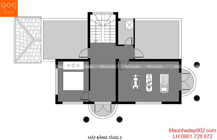 Mặt bằng tầng 3 - Mẫu biệt thự 3 tầng đẹp Hải Phòng