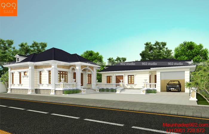 Thiết kế nhà 1 tầng 4 phòng ngủ đẹp ở Nam Định