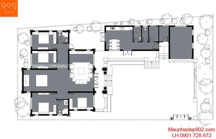 Mặt bằng công năng mẫu nhà 1 tầng 4 phòng ngủ đẹp