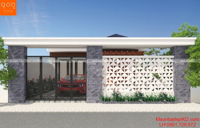 Phối cảnh mẫu nhà 1 tầng mái thái 120m2 - BT150
