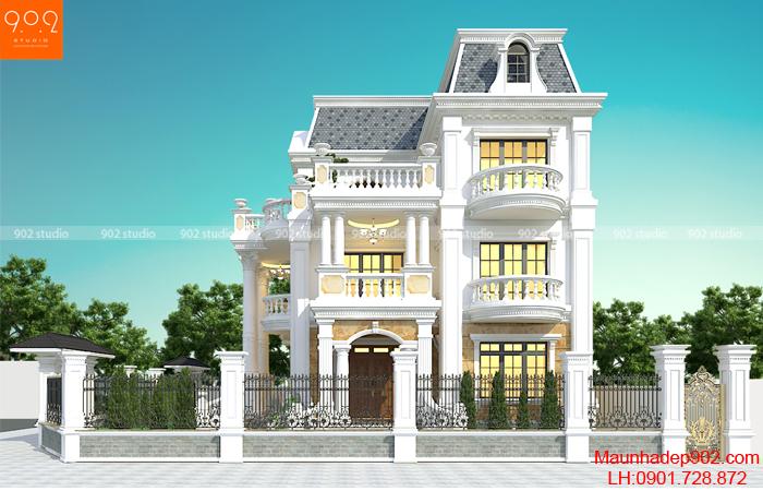 Thiết kế biệt thự đẹp 3 tầng nhà cô Sim - Thái Bình