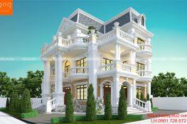 Phối cảnh mẫu biệt thự 3 tầng đẹp phong cách Tân cổ điển