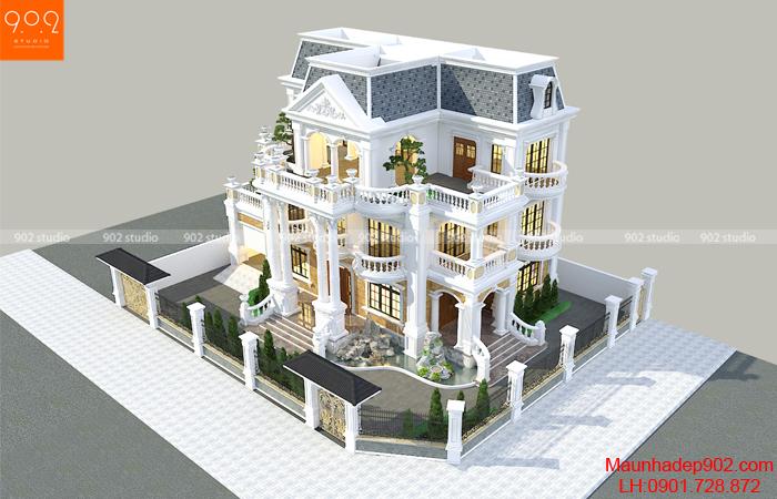 Phối cảnh tổng thể mẫu thiết kế biệt thự 3 tầng đẹp tạo Thái Bình